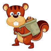 Cartoon squirrel hoard nuts — Stock Vector