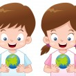 Kids with globe — Stock Vector