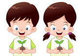 Kids is planting small plant — Stock Vector