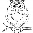 Cartoon owl sitting on tree branch — Stock Vector