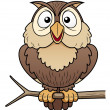 Cartoon owl sitting on tree branch — 图库矢量图片