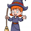 Stock Vector: Cartoon witch with broomstick