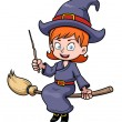 Stock Vector: Cartoon witch flying on broomstick