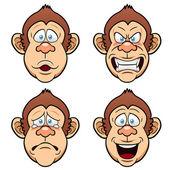 Cartoon Face Monkeys — Stock Vector