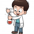Little Scientist holding test tube — Stock Vector