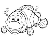 Happy Clownfish Cartoon — Stock Vector