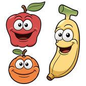 Frutas feliz de dibujos animados — Vector de stock