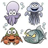 Sea Animals cartoon — Stock Vector