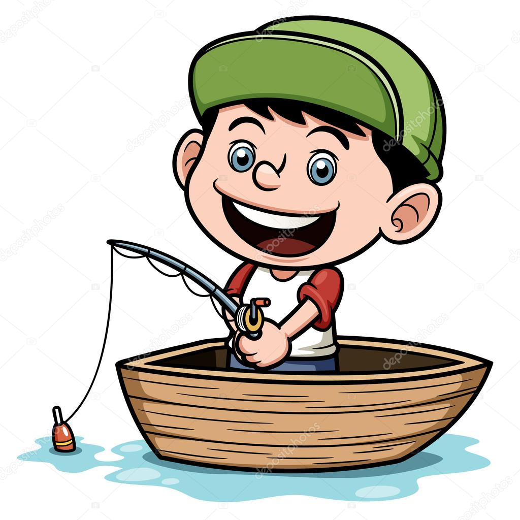 Boy fishing in a boat — Stock Vector © sararoom #29482393