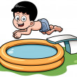 Cartoon boy diving in pool — Stock Vector