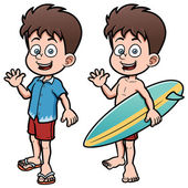 Boy Surfer with Surfboard — Stock Vector