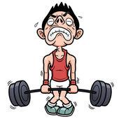 Man försöker lyfta en vikt — Stockvektor