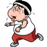 Fat man Jogging tired — Stock Vector