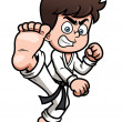 Boy Karate kick — Vector de stock #29883333