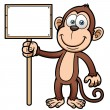 Cartoon monkey with wooden sign — Stock Vector