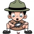 Stock Vector: Boy with magnifying glass