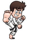 Junge Karate kick — Stockvektor