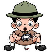 Boy with magnifying glass — Stock Vector