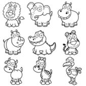 Wild animals cartoons — Stock Vector