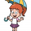 Little girl with umbrella — Stock Vector