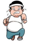 Fat man Jogging — Stock Vector