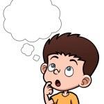 卡通男孩与白色泡沫的思考 — 图库矢量图片