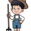 Cartoon little farmer — Stock Vector