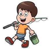 Boy fishing — Stock Vector