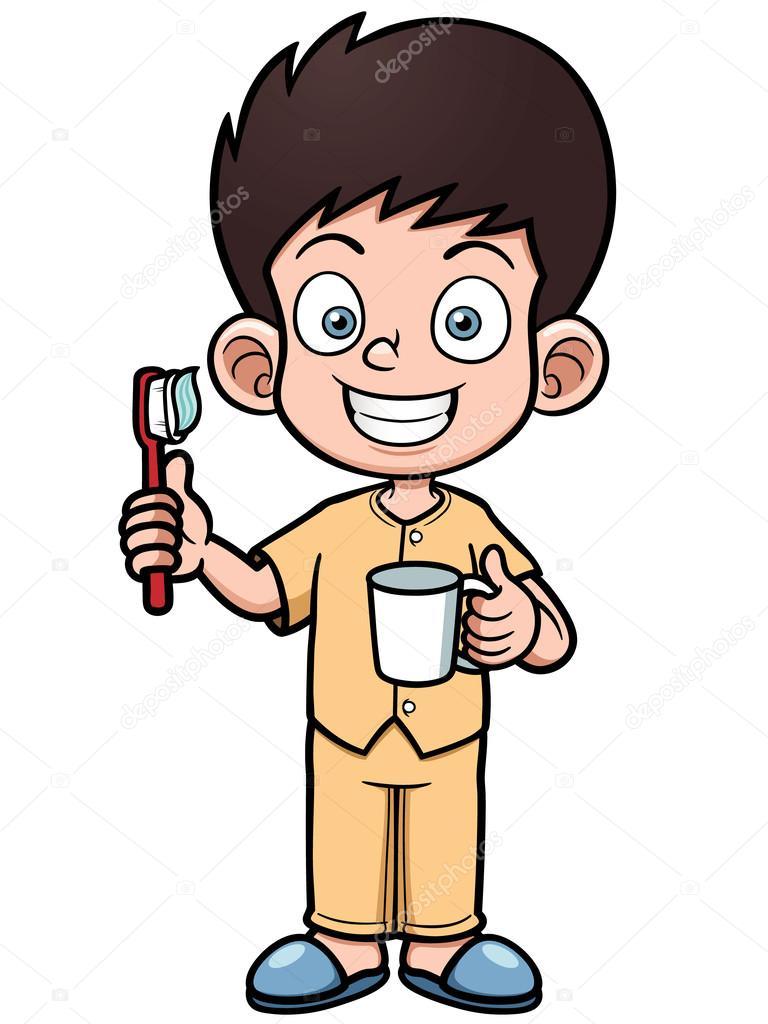 他刷牙的男孩 — 图库矢量图像08
