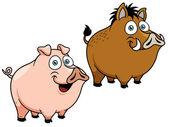 Illustration of cartoon pig — Stock Vector