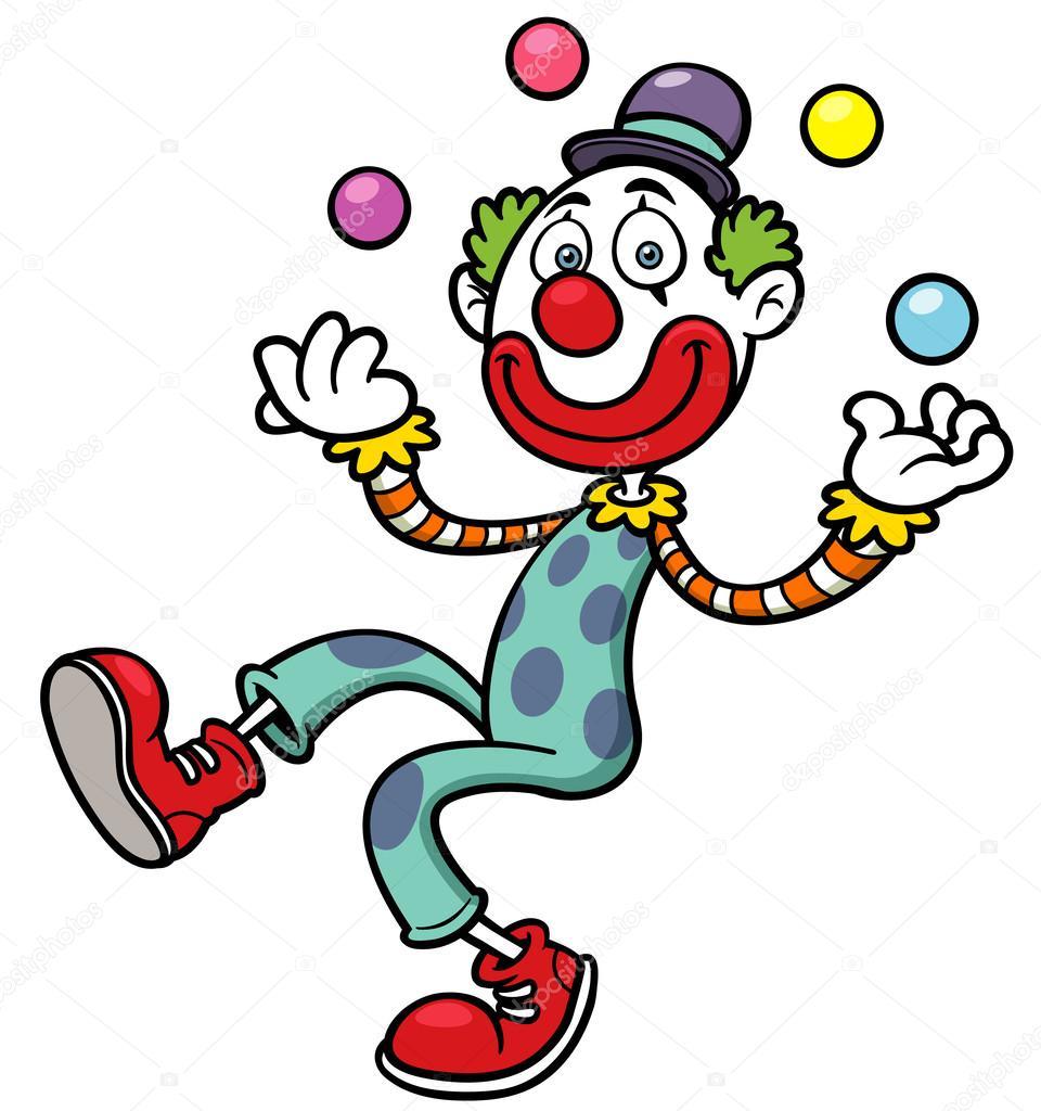 小丑与单车矢量图