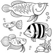 Aquarium fishes collection — Wektor stockowy