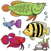 Aquarium fishes collection — Stock Vector