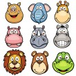 Stock Vector: Wild animals faces cartoons
