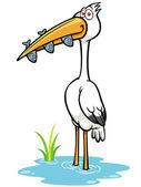 żuraw ptak jedzenie ryb — Wektor stockowy