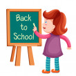 Girl writing back to school — Stock Vector #42581409