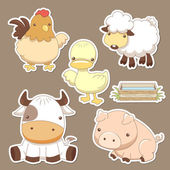 Animals farm set — Stock Vector