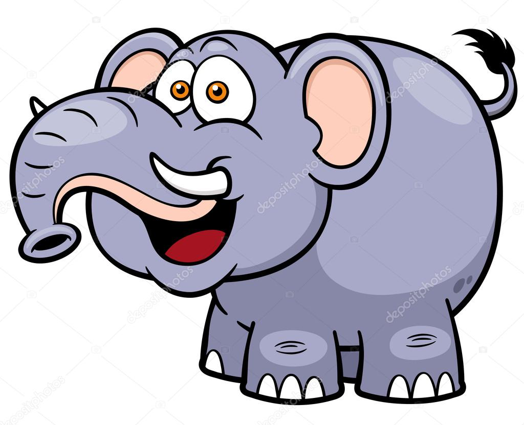 卡通大象矢量图– 图库插图
