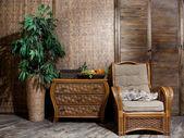枝編み細工品の家具籐家具インテリア ルーム — ストック写真