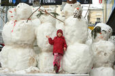 Group of snowmen — Stock Photo