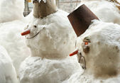 Group of snowmen — Stock fotografie