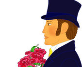Portrait of the young romantic gentleman with a bunch of flowers, isolated. Big size of the image, excellent quality. — 图库照片