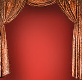 Elegant theater gold curtains (not 3D) — Stockfoto