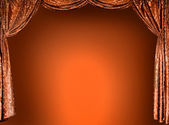 Elegant theater gold curtains (not 3D) — 图库照片