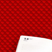 Page diary for February 14 on a red background with romantic hearts — Stock Photo