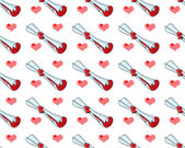 Seamless background with hearts glamorous — Stock Photo