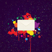 Envelope for letters on the background with blots of paint — ストックベクタ
