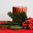 Stripy Christmas candle — Stock Photo