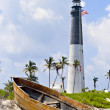 Stock Photo: Lighthouse, flag and boat