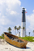 Lighthouse, flag and boat — Stock Photo